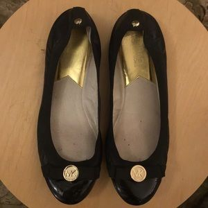 Bow Leather Black Gold Flats Michael Kors EUC 7.5